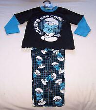 The Smurfs Brainy Boys Black Blue Printed Cotton Flannel Pyjama Set Size 5 New