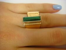 UNUSUAL 14K YELLOW GOLD HAND MADE WIDE RING WITH GREEN QUARTZ 14.1 GRAMS