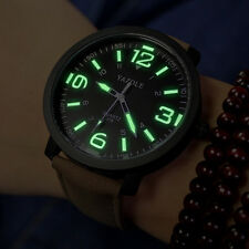 Black Men Women Glow in The Dark Faux Leather Strap Quartz Sport Watch Finest