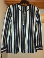 BROOKS  BROTHERS  NAVY/WHITE/BLUE STRIPE  COTTON HENLEY  TUNIC  TOP NEW SZ M