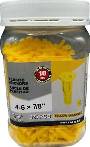 """Hillman Hollow Plastic Wall Anchors Yellow 625 Ct 4-6 x 7/8"""" Holds up to 10 lbs"""
