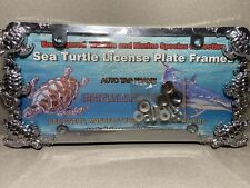 Chrome Sea Turtle License Plate Frame, Metal 3D Heavy Duty w/Mounting Hardware