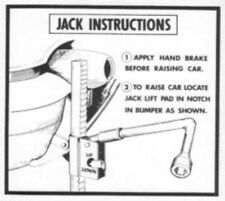 OLDSMOBILE 1954 & 1955 Jacking Instructions Decal