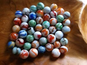 50+ COLLECTABLE ALLEY AGATE///RAVENSWOOD AN HEATON SWIRL MARBLES