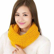 Women Warm Hot Winter Infinity 2 Circle Knit Cowl Neck Long Scarf Shawl Yellow