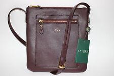fae42da7c8 NWT $148 RALPH LAUREN Port Wine 100% Leather WINCHESTER Flat Crossbody Bag