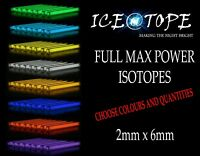 ICEATOPE 2MM X 6MM ISOTOPE BETALIGHTS Trigalight GTLS Vials FULL MAX POWER carp