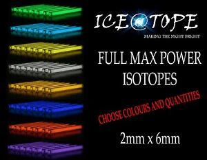 ICEATOPE 2MM X 6MM ISOTOPE BETALIGHTS Trigalight GTLS Vials FULL MAX POWER carp