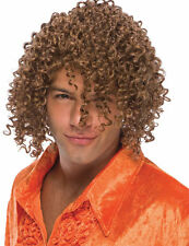 Mens Jheri Curls Wig Brown Hair Disco Player Jeri Curl Hippie Long Curly Adult