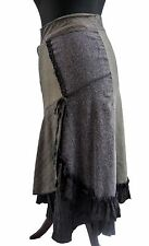 FRENCH LAYERED TWEED CHECK  LONG FLIPPY VICTORIAN STEAMPUNK SKIRT  36 8 10