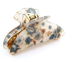 Woman Dark Blue Florals Pattern Plastic Hair Claw Clip Clamp LW