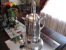 EX ORNATE!   ANTIQUE    SILVER PLATE  TIPPING WATER  PITCHER SAMOVAR
