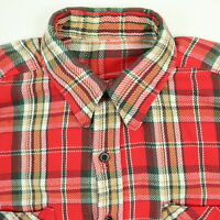 Vtg 50s 60s Mountain Twill Shirt Mens LARGE Trucker Plaid Distressed Grunge Red