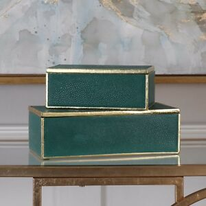 """TWO KARIS EMERALD GREEN ACCENT DECORATIVE STORAGE BOXES 8"""" & 12"""" UTTERMOST"""