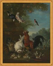 Domestic cock, hens, and chicks in a park Pieter Casteels III Vögel B A1 03126