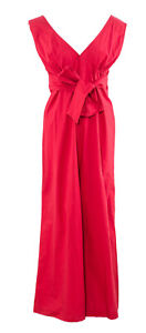 MÊME ROAD Women`s Jumpsuit Size M / 44 IT Wide-Leg Red Playsuit Made In Italy