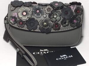 NWT 23536 Heather Grey Coach Clutch with Tea Rose Applique, MSRP $295 (1941)