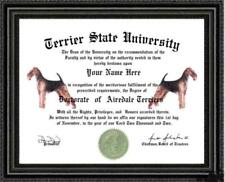 Airedale Terrier Dog Lover's Diploma / Degree Custom made and Designed Gag Gift