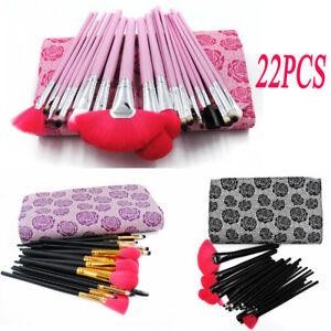 Makeup Brushes Tools Powder Foundation Face Lip Cosmetic Blusher Brush & Bag UK