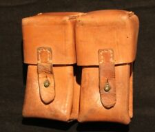 MILITARY TAN BROWN LEATHER DUAL CELL AMMO POUCH HOLDS STRIPPER CLIPS 7.62 x 39