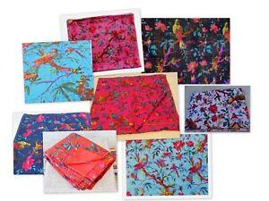Real Cotton Indian Kantha Work Vintage Hippie Twin-Size Blanket Bedspreads Quilt