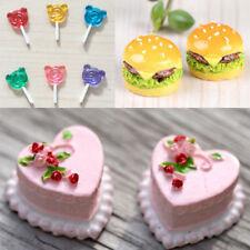 Miniature Dollhouse Bakery Food Hamburger+Birthday Cake+Mini Bear Candy Lollipop