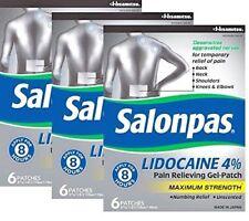 Salonpas Lidocaine 4% Pain Relieving Maximum Strength Gel-Patch 6ct -3 Pack