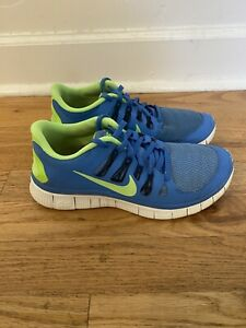 Nike Women's Free 5.0 Running Shoes Blue / Lime 7.5 38.5 Athletic Sneakers