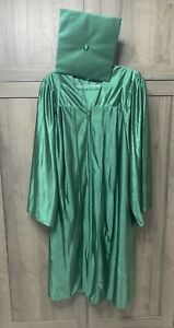 """Kelly Green Graduation Cap & Gown Adult size 45"""" Tassel NOT Included"""