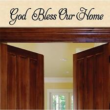 """Wall Decal. Inspirational Decal. God Bless Our Home. 27""""W x 5""""H"""