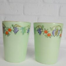 Pair Bavaria Germany Porcelain Drinking Glass Hand Painted Floral Flowers Fruit