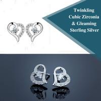 925 Sterling Silver Love Heart Simulated Cubic Zirconia Crystal Stud Earrings
