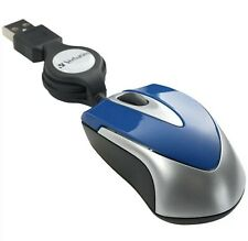 New Verbatim 97249 Optical Mini Travel Mouse Blue Retractable USB Cable