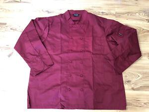 Brigade Men's Women's Chef's Clothing Shirt Top Sz XXL Burgundy Long Sleeve BN