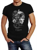Herren T-Shirt Santa Muerte La catrina Mexican Skull Dia de los Muertos Tattoo