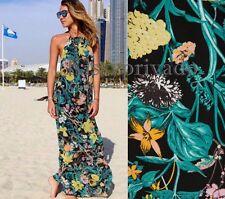 ZARA Green Long Printed Maxi Dress Halter Neck M  BNWT Ref: 2524 154