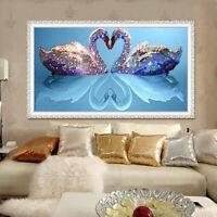 KQ_ AB_ JN_ 5D Loving Swans DIY Diamond Painting Cross Stitch Embroidery Home Wa