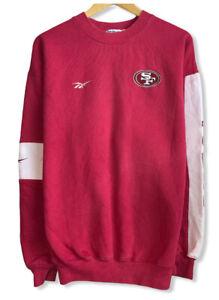 Vtg San Francisco 49ers Reebok Mens Red/White Colorblock Sweatshirt Sz M Fits XL