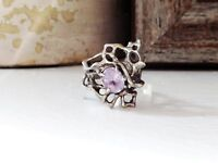 Sterling Silver Brutalist Mid Century Modernist Organic Amethyst 925 Size 6 Ring