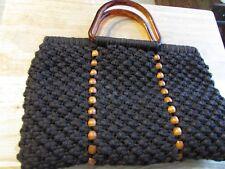 BROWN  1960s Vintage Crochet  Macrame Handbag Purse Plastic Handles Boho Hippy