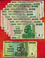 10 Trillion Zimbabwe Dollars + 10 x 50 Thousand 2008 Banknotes Currency AA AB AC
