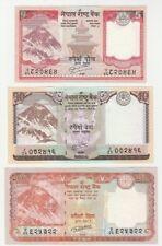 Nepal 5 10 20 Rupees 2010 2012 2016 UNC Mount Everest Banknote Set - 3 pcs
