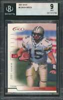 2001 sage #8 DREW BREES new orleans saints rookie card BGS 9