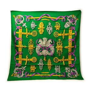Hermes scarf  Carre 90   Greens Silk100% swanky 1522701