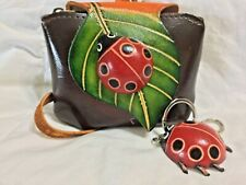 HAND MADE EMBOSSED GENUINE LEATHER LADY BUG COIN PURSE/WRISTLET & KEY CHAIN/RING