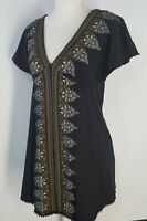 Free People Womens Boho Tunic Dress Size XS Small Cotton Fringe Black & Floral