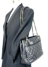 Auth CHANEL Black LambSkin Leather CC Charm Tote Bag Purse Handbag Shoulder Bag