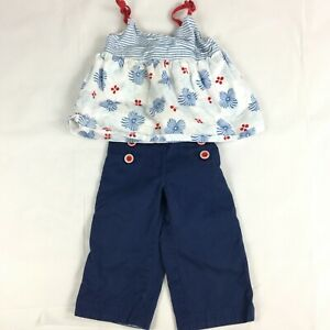 Janie And Jack Girls Blue White Red Apron Top Sailor Pants 2Pc Outfit Sz 3T Set