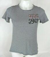 Twirl Black & White Striped Embellished Short Sleeve Shirt Girl's/ Kid's Sz 12 I
