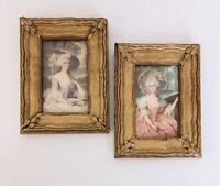 Vintage Gold Framed Pictures Rococo Victorian Women Bonnet Lace Flowers 5 X 7""